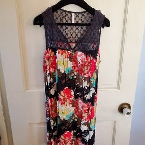 Xhilaration floral dress with lace setail